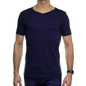 Camiseta de Malha Urbô Azul Básica Gola V