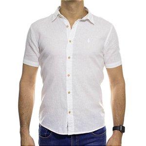 Camisa Social Ankor Manga Curta Linho Branca Slim Fit