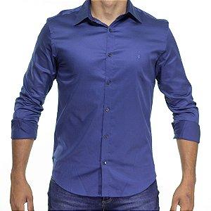 Camisa Social VR Azul Médio Acetinado Lisa Slim Fit