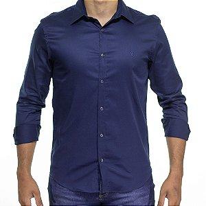 Camisa Social VR Azul Petróleo Acetinado Lisa Slim Fit