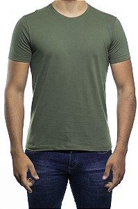 Camiseta Malha Sergio K Basica Verde Musgo Gola Careca