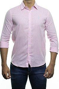 Camisa Social Sergio K Linho Rosa Regular Fit