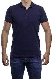 Camisa Polo King e Joe Gola e Punhos Exclusivo Contraste Marinho