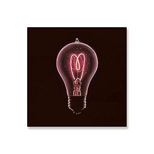 Quadro de Madeira - Lâmpada Coração