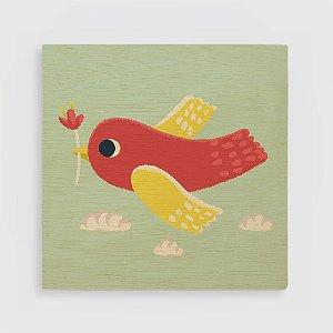 Quadro de Madeira - O Pássaro e a Flor