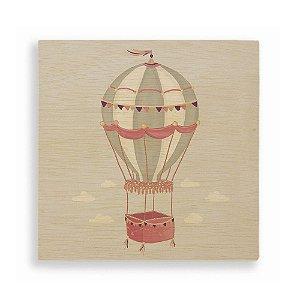 Quadro de Madeira - Balão Rosa