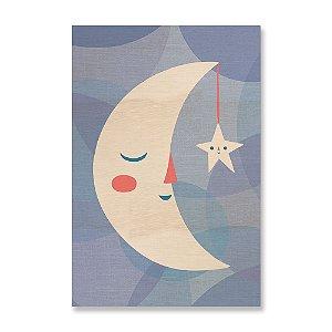 Quadro de Madeira - Lua e Estrela