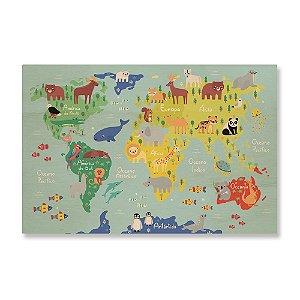 Quadro de Madeira - Mapa Mundi Animais