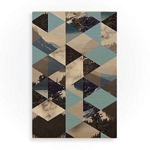 Quadro de Madeira - Landscape Pattern - Blue