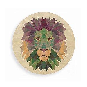 Quadro de Madeira Redondo - Geometric Lion