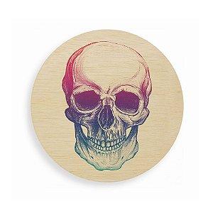 Quadro de Madeira Redondo - Skull Colors