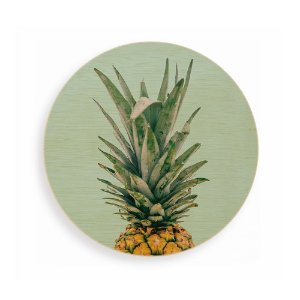Quadro de Madeira - Pineapple Tropical - Green