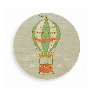 Quadro de Madeira Redondo - Balão Verde