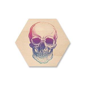 Quadro de Madeira Hexágono - Skull Colors
