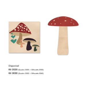 Kit MooMoo - Cogumelos vermelho e Quadro Silhouette
