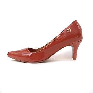 Scarpin Amo Calçados Terracota Verniz