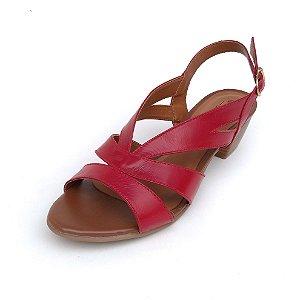 Sandália de Salto em Couro Mylla Vermelha