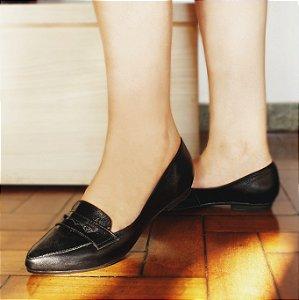 Sapato em Couro Mocassim Clássico Preto