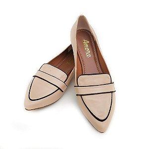 Sapato em Couro Mocassim Nude