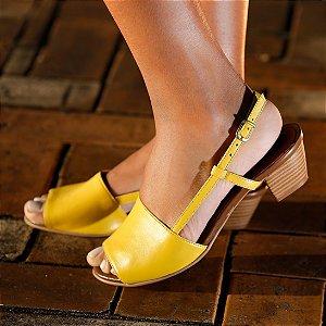 Sandália de Salto em Couro Mimi Amarela