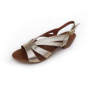 Sandália de Salto em Couro Mylla Dourada