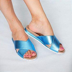 Sandália Flatform Meg em Couro Azul Metálico