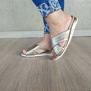 Sandália Flatform Meg em Couro Ouro Velho