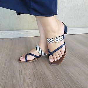 Sandália de Salto Baixo em Couro Lisa Azul marinho