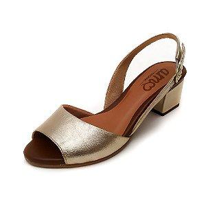 Sandália de Salto em Couro Uly Dourada