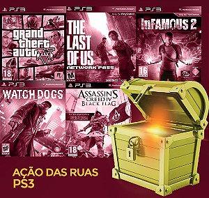 Pacote Especial PS3 - Ação das Ruas -  GTA 5, The last of us, Watch dogs, Assassins Creed Black flag, Infamous 2