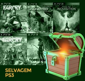 Pacote Especial PS3 - Selvagem - Far cry 3, Far cry 4, Uncharted 2, Tomb raider, Dragon age Inquisition