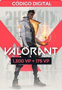 Valorant Card  VP - RIOT GAMES 1.300 VP + 175 VP Bônus