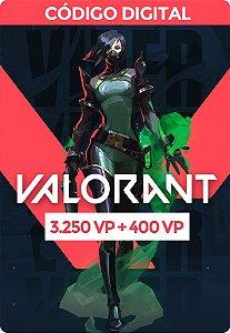 Valorant Card  VP - RIOT GAMES 3.250 VP + 400 VP Bônus