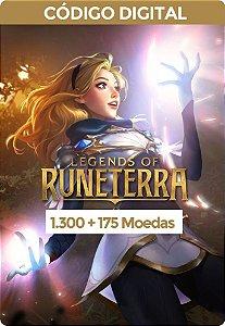 Legends of Runeterra - RIOT GAMES 1.300 Moedas + 175 Bônus