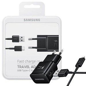 Carregador De Viagem Samsung Original Com Cabo Tipo C - Embalagem Oficial
