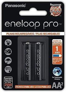 Pilha Recarregável Eneloop PRO AA (Pequena), BK-3HCDE/2BB, Panasonic, Cartela com 2 unidades