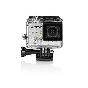 """Câmera de Ação MIRAGE HD Tela de LCD 2"""" Sport 5MP Prata Com 14 Acessórios"""