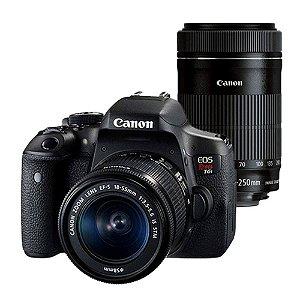 Câmera Canon DSLR EOS Rebel T6i Premium Com Lente 18-55mm + 55-250mm