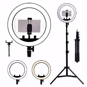 Iluminador Completo Ring Light Com Tripé Dimmer Youtuber Selfie Pro 16cm
