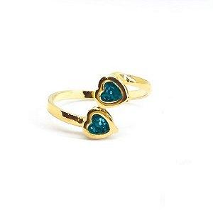 Anel Infantil Dois Corações Azul Di Capri Semi Jóias X Ouro
