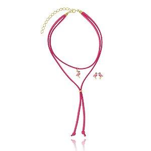 Conjunto Infantil Colar Gravatinha e Brinco Flamingo Di Capri Semi Jóias X Ouro