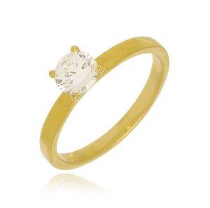 Anel Solitário Cristal Di Capri Semi Jóias X Ouro