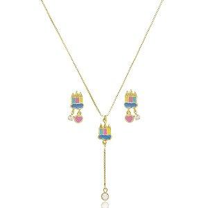 Conjunto Infantil Colar Gravatinha e Brinco Lápis Di Capri Semi Jóias X Ouro