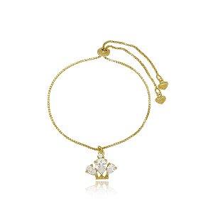Pulseira Infantil Coroa de Cristal Di Capri Semi Jóias X Ouro