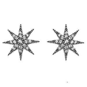 Brinco Estrela Di Capri Semi Jóias X Ródio Negro