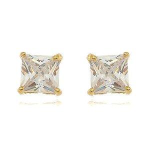 Brinco Quadradinho Cristal Di Capri Semi Jóias X Ouro