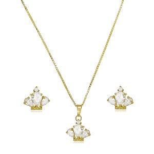 Conjunto Infantil Colar e Brinco Coroa de Cristal Di Capri Semi Jóias X Ouro