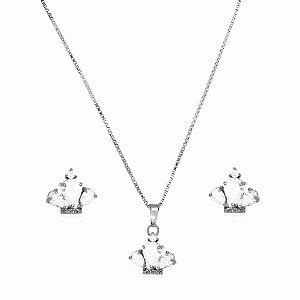 Conjunto Infantil Colar e Brinco Coroa de Cristal Di Capri Semi Jóias X Ouro Branco