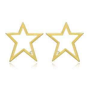 Brinco Estrela Vazada Grande Com Ponto De Luz Di Capri Semi Jóias X Ouro