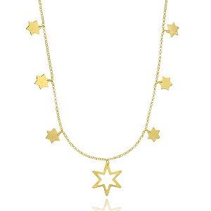 Colar Estrelas Di Capri Semi Jóias X Ouro